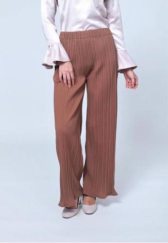 Emanuel Femme brown Amelia Pleated Pants E359FAA7066DDEGS_1