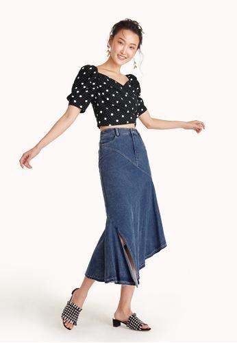 Pomelo blue High-Waisted Mermaid Denim Skirt 5350CAA690C00BGS_1