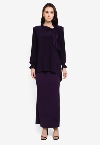 Zuco Fashion purple Mini Kurung Tuxedo with Hi-Lo Style Top 6AEB5AAF8F82C2GS_1