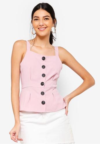 ZALORA 粉紅色 鈕釦荷葉飾上衣 990EDAA239D2F2GS_1