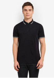 Burton Menswear London black Black Smart Zip Neck Polo Shirt BU964AA0S9QSMY_1
