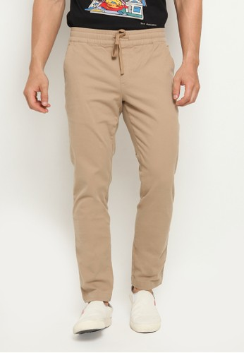 The Executive beige Ankle Length Jogger Pants 6AFE8AADD00E0EGS_1