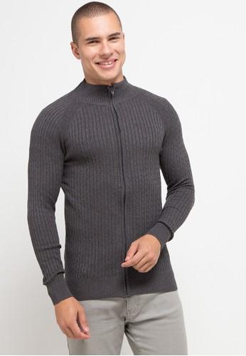 Gianni Visentin grey Full Zipper Cable Knit Sweater 09B33AA701483CGS_1