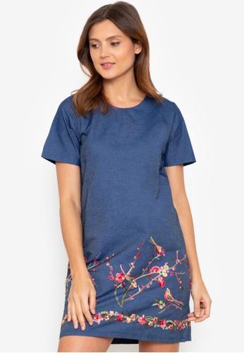 Beyond The Seams blue Sydney Denim Emboidered Short Sleeve Straight Dress 24BD1AA34EBFB9GS_1