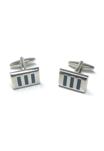 Splice Cufflinks silver 3 Blue Stripes Rectangular Cufflinks SP744AC62FVDSG_1