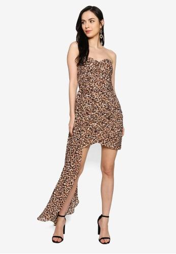 Lavish Alice brown Pleated Chiffon Sweetheart Mini Dress 20B3AAAF8EAB38GS_1
