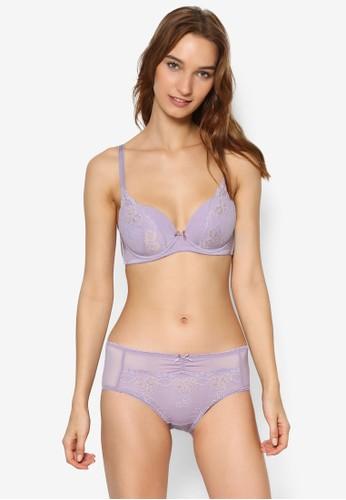 馬卡龍蕾絲托高胸罩內衣褲zalora開箱組, 服飾, 內衣套裝