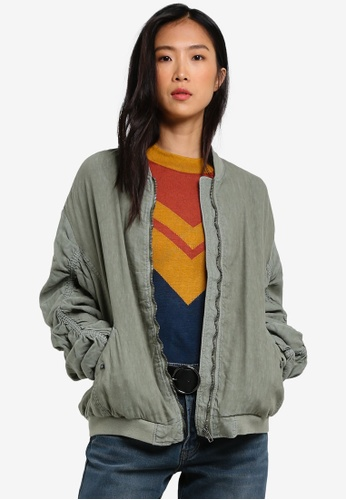 Free People green Rouched Linen Bomber Jacket FR659AA0RWMXMY_1