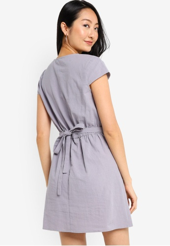 ZALORA BASICS blue Cap Sleeve Mini Dress with Waist Detail 9E426AA6C9EF4BGS_1