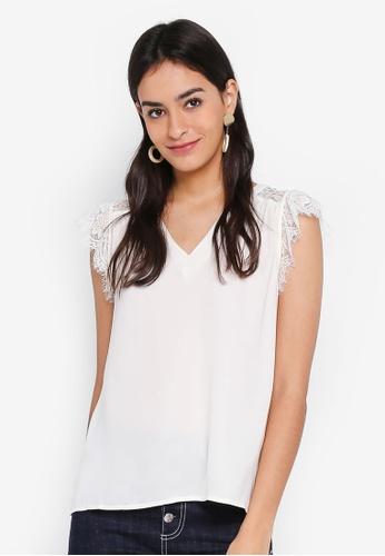 Vero Moda white Rosemary Sleeveless Lace Top BEC5CAA766B38DGS_1