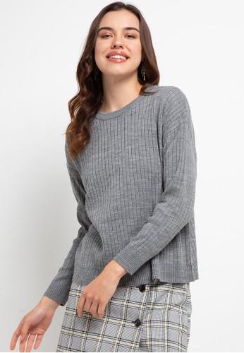 Button On grey Women Knit Textured Top 86D8CAA76D1492GS_1