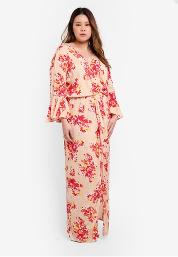 ELVI multi Plus Size Stasis Wrap Maxi Dress With Scattered Floral Print 7E9F5AAA0584C3GS_1