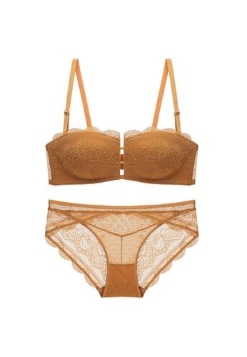 Glorify 褐色 Premium Brown Lace Lingerie Set 929D7US0324302GS_1