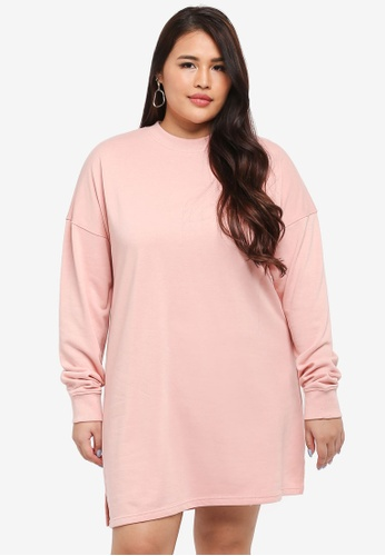 MISSGUIDED pink Plus Size Sweat Dress 7A91FAAF0AE716GS_1