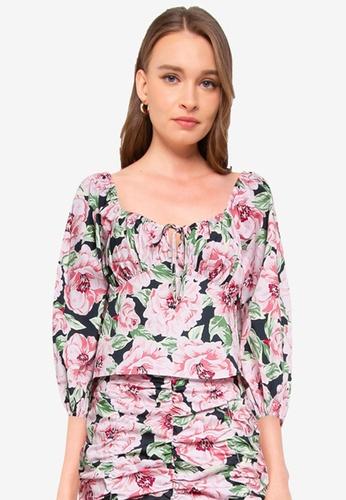 Miss Selfridge black Black Floral Print Long Sleeve Tea Top D9207AAF3EA9C7GS_1