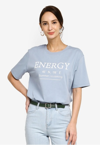 Hopeshow blue Slogan Round Neck Short Sleeve T-Shirt BDECBAA5FCD686GS_1