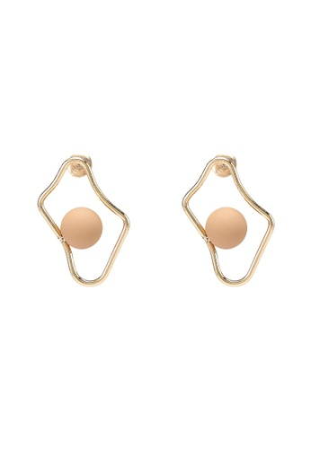 Saturation gold Organic Shape Bead Earrings 7101AACE7E7D67GS_1