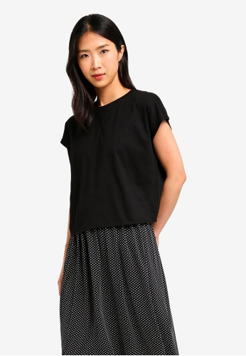 ZALORA BASICS black Basic Oversized Boxy T-Shirt D4BE2AAC407566GS_1