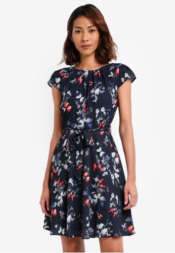Dorothy Perkins navy Billie & Blossom Petite Butterfly Print Dress DB5CEAA823FB27GS_1