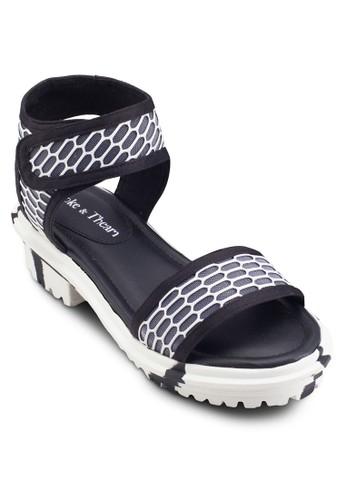Zeus esprit 手錶網眼印花粗跟涼鞋, 女鞋, 細帶高跟鞋
