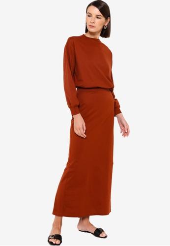 Earth by Zalia Basics 橘色 Organic Cotton Top With Skirt 97086AA8B79276GS_1