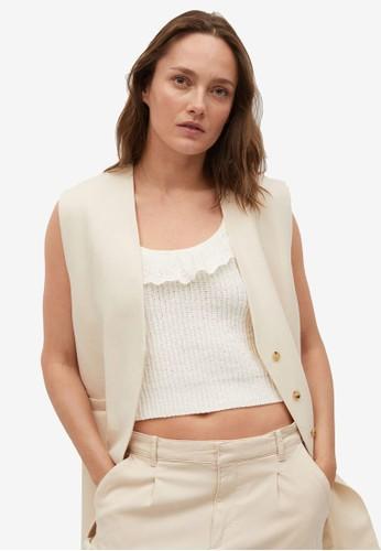 Mango beige Cotton-Blend Knit Top D9D98AA5E433B1GS_1
