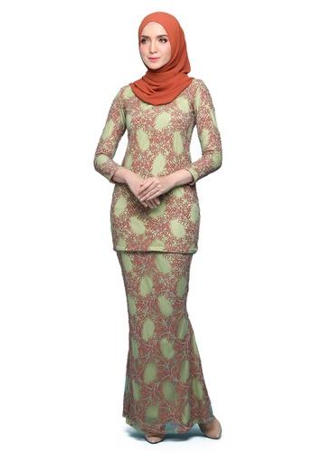 Kurung Lenora from Seri Maharani in Orange and Green and Multi