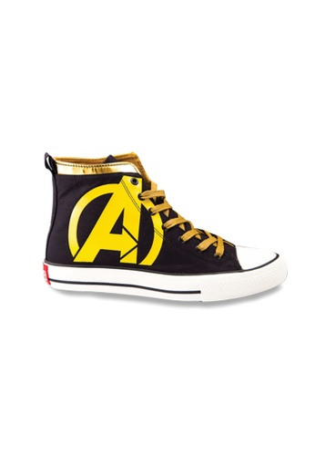 MARVEL black Marvel Unisex Power A High Top Fashion Canvas Shoes EBEEBKS5BEFE53GS_1