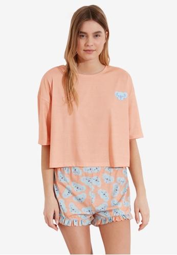 Trendyol pink Short Sleeve Pyjama Set DE095AA7E5313EGS_1