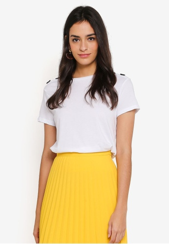 WAREHOUSE white Button Shoulder Tee 27072AA3888531GS_1