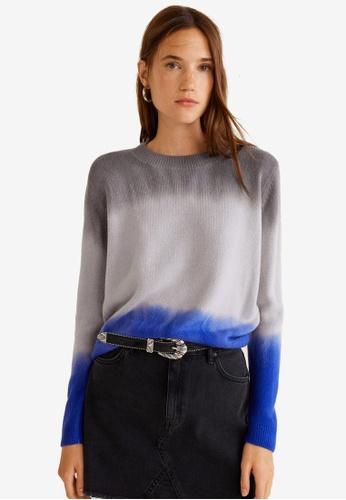 Mango blue Tricolor Knit Sweater BD747AAC43E8B7GS_1
