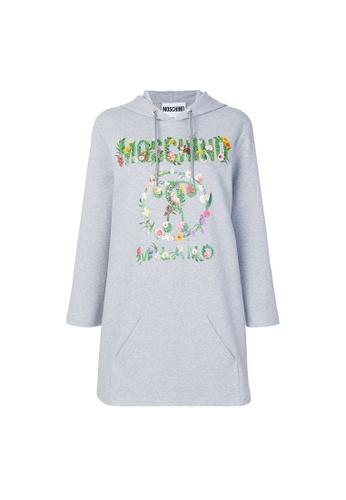 Moschino grey Moschino floral print logo Hoodie Dress in Grey AE4CDAAF3ACA87GS_1