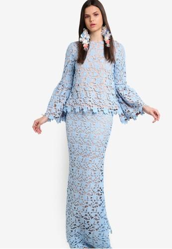 Lubna blue Flare Sleeve Full Lace Kurung LU723AA21ZYKMY_1