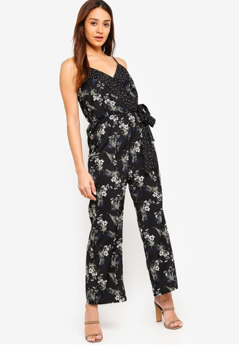ZALORA black and multi Wrap Jumpsuit With Contrasting Trim A5DDFAA3B9A85BGS_1