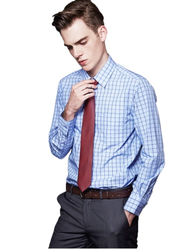 Life8 blue Checked Jacquard Business Shirt LI283AA12ABBSG_1