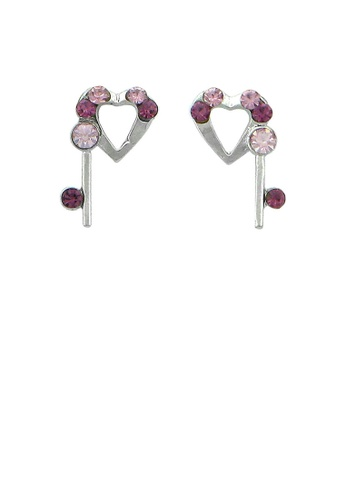 Glamorousky pink Lovely Heart Earrings with Purple and Pink Austrian Element Crystals 5A082ACE95502FGS_1