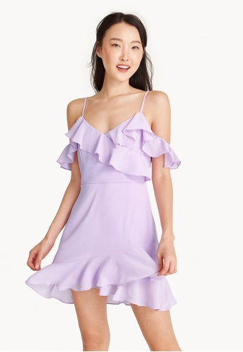 Pomelo purple Mini Textured Ruffle Cold Shoulder Dress - Purple FB480AA1DB30D7GS_1