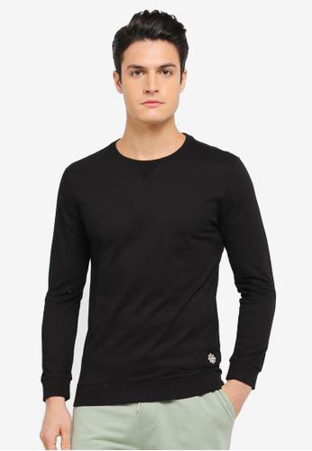 JAXON black Logo Rib Collar Sweatshirt DBBC9AAEA30DFFGS_1