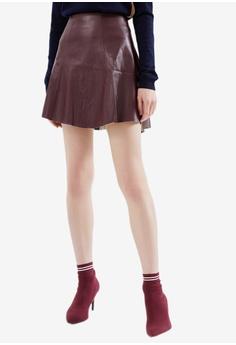 685743659 Hopeshow red PU Leather Flare Mini Skirt 81D93AAE181249GS_1