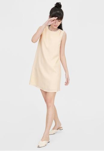 Pomelo beige Striped Sleeveless Shift Dress - Beige 38EB8AA3C899E3GS_1
