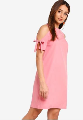 ZALORA pink Round Neck Lace Shift Dress D2702AAE718FB9GS_1