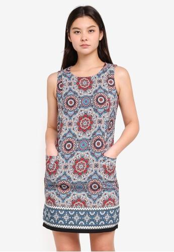 Dorothy Perkins blue Geo Sleeveless Shift Dress A0175AAAEF805CGS_1