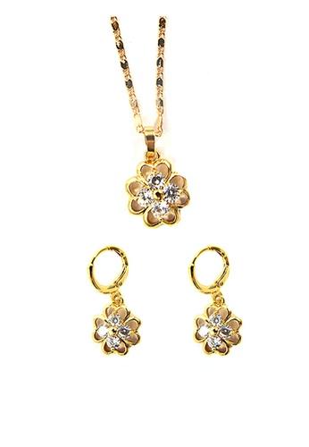 Jewelplace gold Multi Gem Flower Cubic Zircon Jewelery Set JE882AC09KKWPH_1