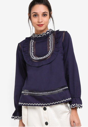 TOPSHOP navy Embroidered Poplin Top TO412AA08NSPMY_1
