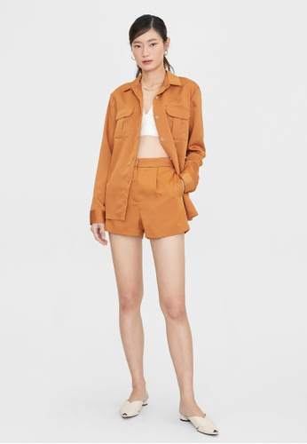 Pomelo brown Semi Pleated High Waist Shorts - Brown E0788AA5CA7E3EGS_1