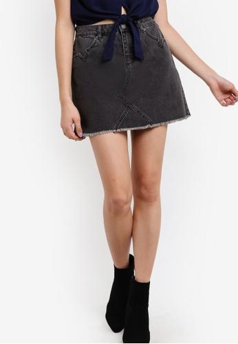 Miss Selfridge 灰色 Petite Denim Mini Skirt MI665AA56DDRMY_1