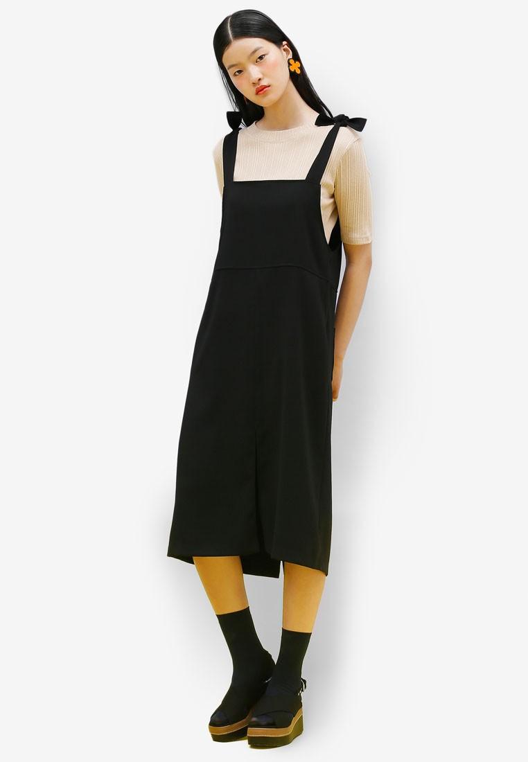 Korean Fashion Ribbon Tie Overall Dress