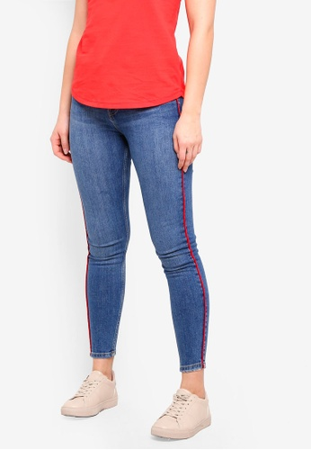 Dorothy Perkins 藍色 Red Side Stripe Jeans 16127AAC7E28DCGS_1