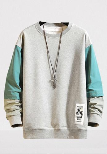 Trendyshop grey Colour Block Long Sleeves Tee 15960AA8798A5EGS_1