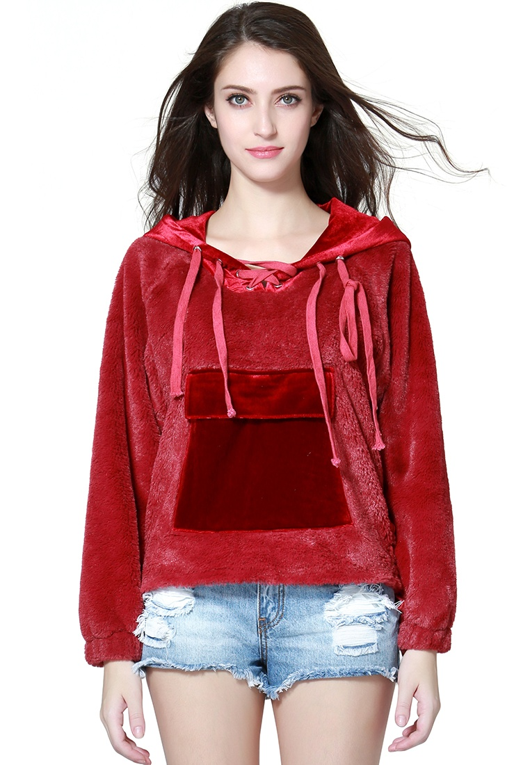 Fur Burgundy Hoodie Burgundy Rag London BZc1WBwaq